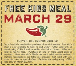 Chili's Kids Meal Coupon