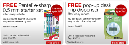Staples Free Pentel Starter Set Amp Scotch Pop Up Tape
