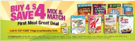 Buy 4, Save $4 Cereal Sale