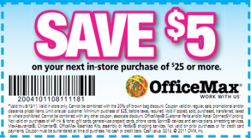 Office max coupons save 5 off a 25 purchase more - How to save money when purchasing office supplies ...