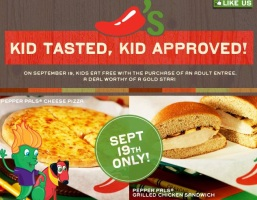 Chili's Coupon Kids Eat Free 9/19