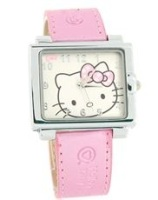 Hello Kitty Square Leather Band Quartz Watch (Pink)