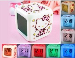 Kitty LED Color Change Digital Alarm Clock with Calendar and Thermometer